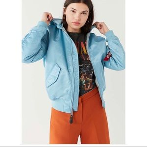 Alpha industry bomber jacket light blue